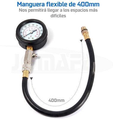 Compresimetro Gasolina 8 Pzas Medidor De Compresion Con Adaptadores + Linterna 6