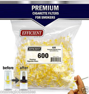 EFFICIENT Bulk Cigarette Filter Tips Block, Filter Out Tar & Nic (600 Filters) 2