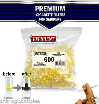 EFFICIENT Bulk Cigarette Filter Tips Block, Filter Out Tar & Nic (600 Filters) 4