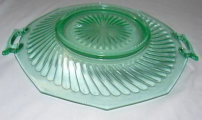 """Lot Set Of 2 Green Glass 11"""" Footed Plate Bowl 12"""" Plate With Handles Party Dish 7"""