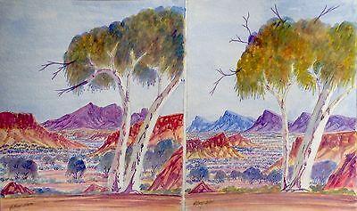 Aboriginal Painting Water Colour Australian Dot Art Uluru Central