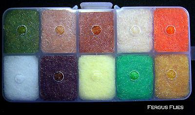 Top Ten Colors Worldwide! 1 Antron Dubbing Dispenser Box Fly Tying
