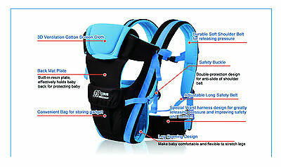 New Ergonomic Strong Breathable Adjustable Infant Newborn Baby Carrier Backpack 5