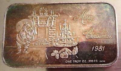 Crown Mint 1981 Santa Claus Art Bar Merry Christmas  1 Troy Oz .999 Fine Silver 3