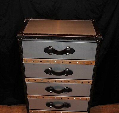 Industrial Leather Chrome Chest Drawers Tall Boy Luggage Furniture 6