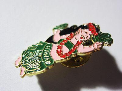 """1990's CUTE Hula Dancer Enamel -Hat, Lapel Pin Tie Tack Hawaiian 1""""inch"""