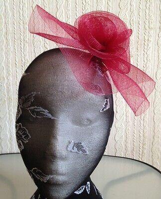 dark red maroon burgundy flower fascinator millinery brooch clip wedding hat 2