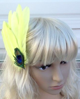 fluo yellow fascinator millinery peacock feather hair clip wedding piece ascot 2
