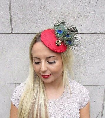 Red Gold Green Peacock Feather Fascinator Pillbox Hat Hair Clip 1940s Races 3165 2