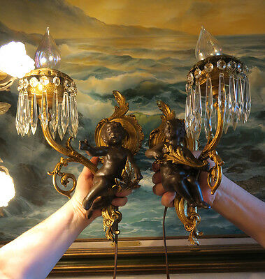 Pair cherub Vintage Blackamoor Spelter CRYSTAL Brass sconces French lamp Antique 2