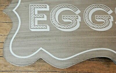 Large rustic wood chicken egg sign FARM FRESH EGGS