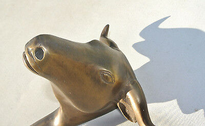 """BULL COAT HOOK solid AGED brass antiques vintage old style 6"""" hook heavy B 4"""