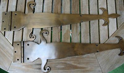"""2 Large"""" FLEUR de lis"""" hinges aged style solid 100% Brass DOORS BOX 17"""" long B 2"""
