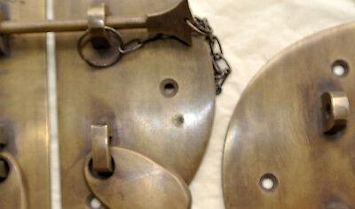 "2  Door box Latch catch brass furniture antique bolt chain asian style 3.1/2"" B 3"