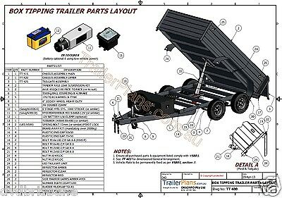 Trailer Plans - 3400kg HYDRAULIC TIPPING TRAILER PLANS - 10x6ft- PLANS ON CD-ROM 8