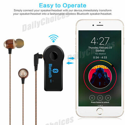 Wireless Bluetooth 3.5mm AUX Audio Stereo Music Home Car Receiver Adapter 5