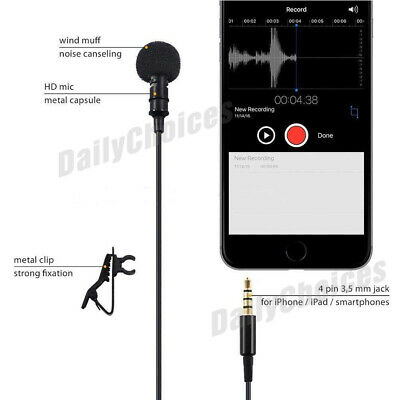Lavalier Microphone 3.5mm Lapel Clip-on Mic for iPhone & Android Smartphones 5