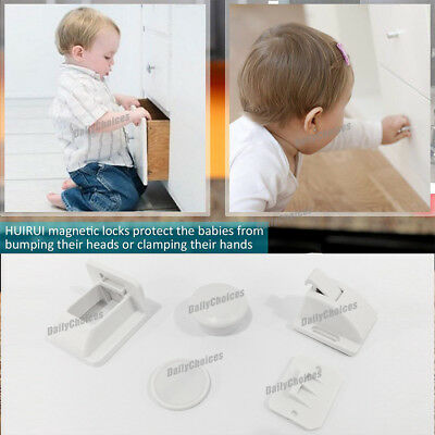 16 Sets Magnetic Cupboard Cabinet Drawer Safety Lock Latch Kids Proof AU 6