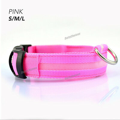 USB Rechargeable LED Dog Collar Nylon Glow Flashing Light Up Safety Pet Collars 8