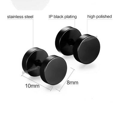 Pair Black Flat Round Barbell Earrings Plug Gym Mens Mm Stud 316 Stainless Steel 5