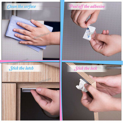 16 Sets Magnetic Cupboard Cabinet Drawer Safety Lock Latch Kids Proof AU 8