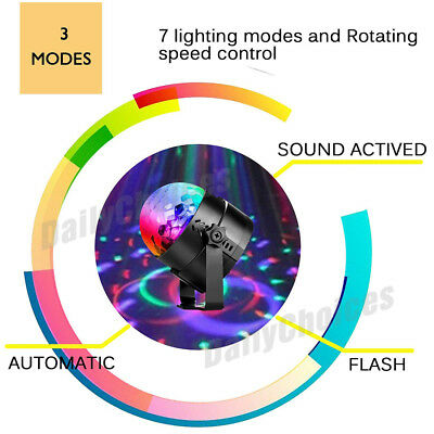 USB RGB LED Disco Ball DJ Party Light Effect Strobe Remote Sound Activated Auto 6