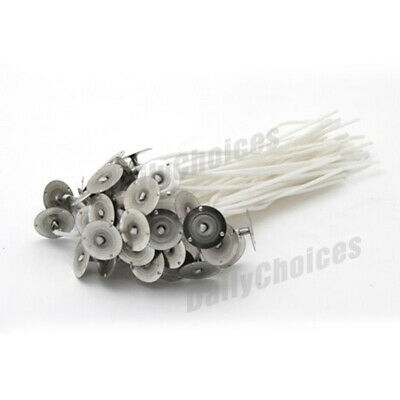 100pcs Candle Wicks Low Smoke Pre Waxed Wick with Tabs Sustainers Cotton Core AU 5