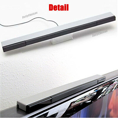 Wired Infrared Ray Sensor Bar/Receiver for Nintendo Wii U Black with Silver AU 9