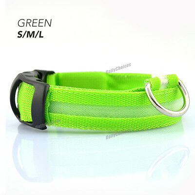USB Rechargeable LED Dog Collar Nylon Glow Flashing Light Up Safety Pet Collars 10