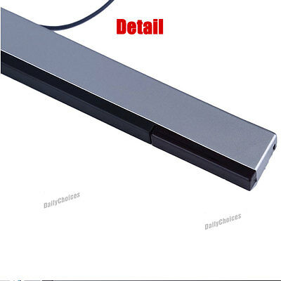 Wired Infrared Ray Sensor Bar/Receiver for Nintendo Wii U Black with Silver AU 10