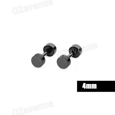No Piercing Flat Round Black Magnetic Ear Stud Earrings Mens Womens Jewellery 6