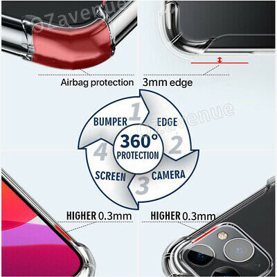 【Airbag Shockproof】iPhone 11/Pro/Max Clear Case Bumper Slim Cover Silicone TPU 8
