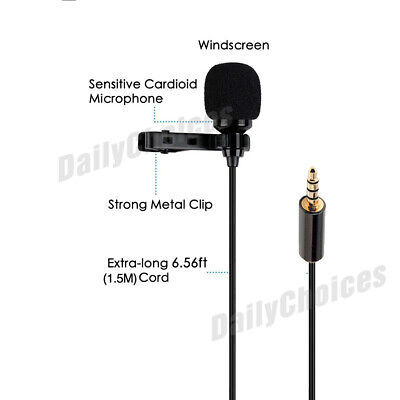 Lavalier Microphone 3.5mm Lapel Clip-on Mic for iPhone & Android Smartphones 7