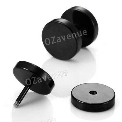 No Piercing Flat Round Black Magnetic Ear Stud Earrings Mens Womens Jewellery 4