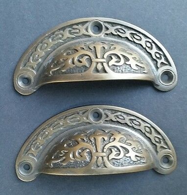 """2 Antique vtg. Style Victorian Brass Apothecary Bin Pulls Handles 3-7/16""""w.  #A5"""