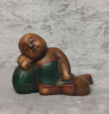 Large Antique/ Vintage Chinese c.20th Hand Carved Wooden Figurine Girl with Boy 6