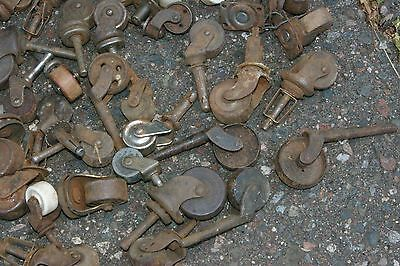 95 Antique Industrial Casters  Furniture Cabinets Wood & Metal Porcelain Wheels 6