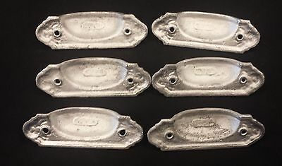 6 Matching DRAWER PULLS EMBOSSED CAST IRON  VICTORIAN STYLE