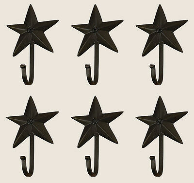Vintage Hand Forged Iron Classic Early American 3D Barn Star Hook Black Set 12