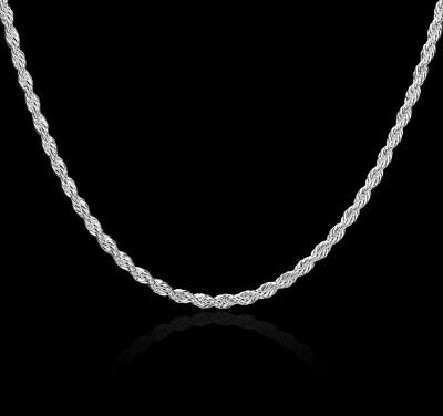 REAL Classic 925 Sterling Silver Chain Necklace SOLID SILVER 925 Jewelry Italy 2