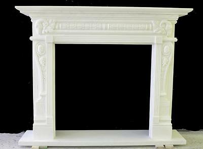 Beautiful Hand Carved Marble European Design Marble Figural Fireplace Mantel Z10 6