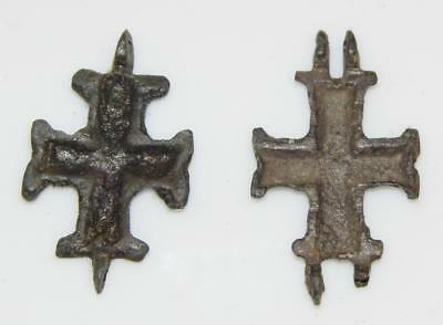 Early Medieval Byzantine Enkolpion Reliquary Cross Crucifix Bronze Theca Relic