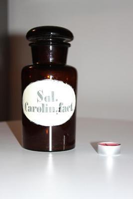 Apothekerflasche, Form selten, rund, alt, SAL. CAROLIN. FACT. SCHLIFF STOPFEN