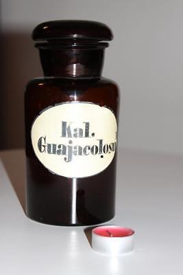 Apothekerflasche, Form selten, rund, alt, KAL. GUAJACOLOSU. SCHLIFF STOPFEN
