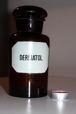 Apothekerflasche, Form selten, rund, alt, DERMATOL. SCHLIFF STOPFEN breiter 4