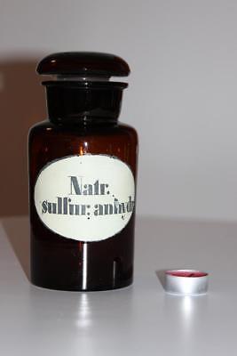 Apothekerflasche, Form selten, rund, alt, NATR. SULFUR. ANHYDR SCHLIFF STOPFEN
