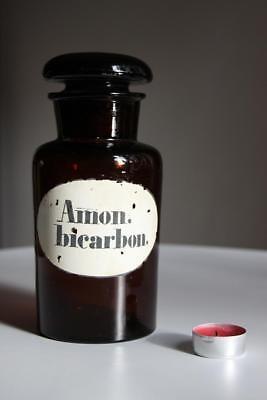 Apothekerflasche, Form selten, rund, alt, AMON. BICARBON. SCHLIFF STOPFEN breite 4