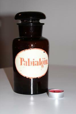 Apothekerflasche, Form selten, rund, alt, PABIALGIN. SCHLIFF STOPFEN