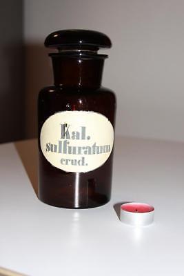 Apothekerflasche, Form selten, rund, alt, KAL. SULFURATUM CRUD. SCHLIFF STOPFEN
