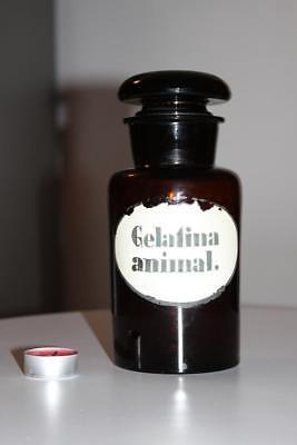 Apothekerflasche, Form selten, rund, alt, GELATINA ANIMAL SCHLIFF STOPFEN breite